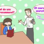 レストランでおすすめメニューを簡単に聞く英語